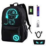 WYCY Anime Cartoon Luminous Backpack Mochila de Moda con Puerto de Carga USB y antirrobo Lock & Pencil Case,...