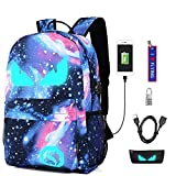 WYCY Anime Cartoon Luminous Backpack mochila de moda con puerto de carga USB y estuche antirrobo de bloqueo y...