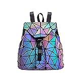 Mochila Mochila geométrica Lingge Mujer Luminoso Flash Hombre Bolsa de Viaje Mochila Escolar, Hológrafo para...